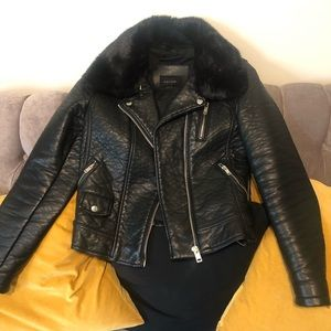 Zara Faux Leather and Removable Faux Fur Jacket